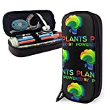 Estuches de lápices con cremallera, multiusos, suministros de oficina escolar, alimentados por plantas, color negro vegano