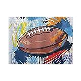 HASENCIV 500 Pièces Puzzles Puzzles Croquis de Ballon de Rugby en Forme de Diamant de Sport avec la Ligue d'équipement Professionnel de griffonnages colorés Intellectuels Éducatifs Puzzles de Canaux