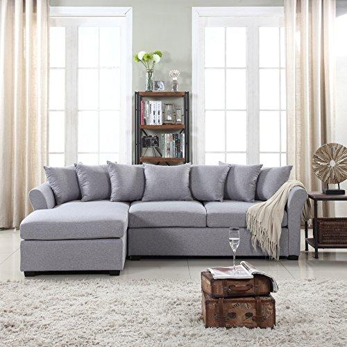 Divano Roma Furniture Modern Sectional, Large, Grey