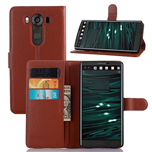 Tasche für LG V10 Hülle, Ycloud PU Ledertasche Flip Cover Wallet Case Handyhülle mit Stand Function Credit Card Slots Bookstyle Purse Design braun