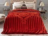 Madame Coco Oisemont Vizon Emboss Tagesdecke Bettdecke mit eleganter Prägung, 100 prozent Polyester, 200 x 220 cm, Schlafzimmer Zubehör Bett Überwurfdecke (Ziegelrot)