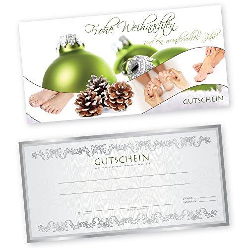 50 Weihnachtsgutscheine Gutscheinkarten XMAS GREEN FUßPFLEGE für Fußpflegestudio Gutscheine Geschenkgutscheine