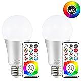 Jayool 10W E27 120 Couleurs LED RGBW Ampoule Changement de Couleur Télécommande (3ème génération), Timing et Dimmable...