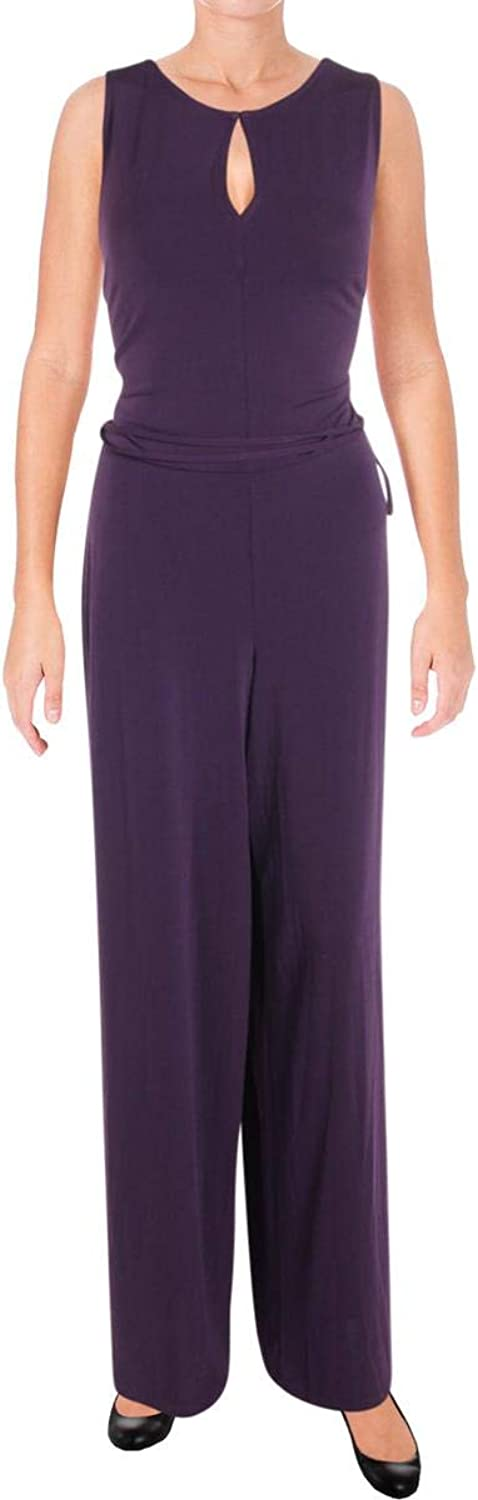 Lauren Ralph Lauren Womens Sleeveless Blouson Jumpsuit Purple M