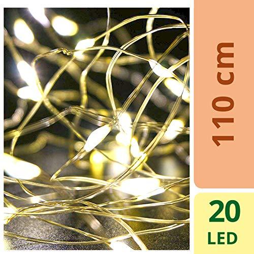 ATG Led-lichtsnoer, 10 stuks, met 20 leds, verlichting voor flessen, lantaarns, glazen en andere ornamenten ramen met kerstverlichting, warmwit