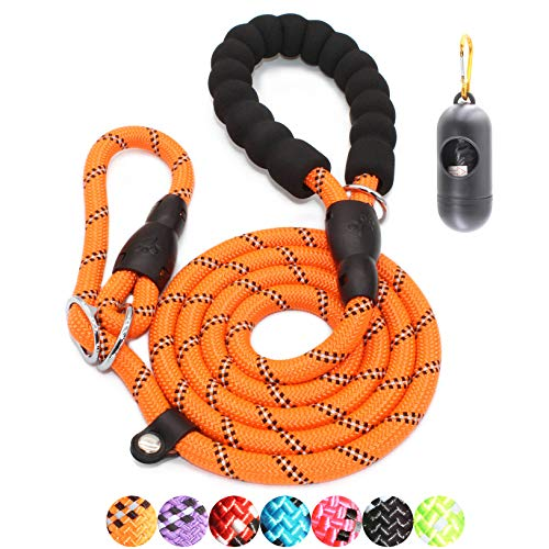 BAAPET 6 Feet Slip Lead Dog Leash Anti-Choking with Upgraded Durable Rope Cover and Comfortable Padded Handle for Large, Medium, Small Dogs Trainning with Poop Bags and Dispenser (Orange)