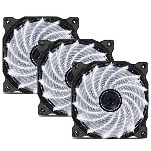 upHere 120mm Ventilador para Ordenador - 15LED Ventilador de Caja - Ventilador de PC Silencioso 3 Pack (Blanco) 15W3-3