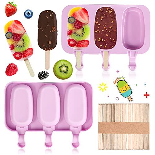 Yumcute Eisformen, 2 Packungen EIS am Stiel Formen mit 100 Eisstange, Wiederverwendbar Popsicle Formen Set, Silikon Lebensmittelqualität Popsicle Form, für DIY Frozen Dessert Eisformen (Violett)