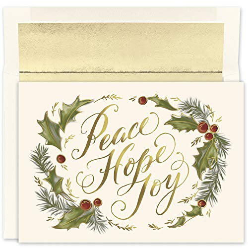 Masterpiece Studios Holiday Collection 18-Count Boxed Christmas Cards With Foil-Lined Envelopes, 7.8' x 5.6', Peace Hope Joy