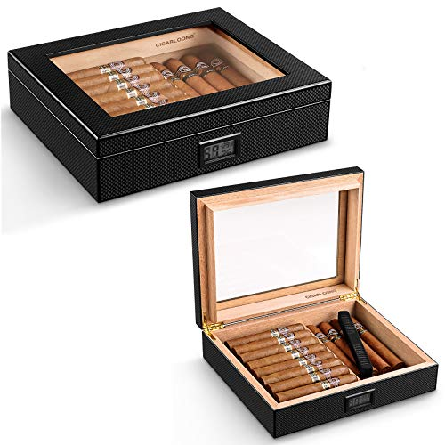 CIGARLOONG Cigar Humidor Glass Top Carbon Fiber Pattern Wooden Cigar Box with Electronic Hygrometer and Humidifier Holds 20-50 Cigars