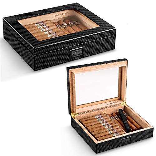 CIGARLOONG Cigar Humidor Glass Top Carbon Fiber Pattern Wooden Cigar Box...
