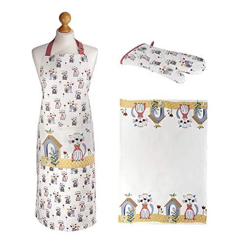 Spotted Dog Gift Company 3-delige cadeauset, theedoek, pannenlap handschoen en dames, grappig kattendesign, cadeau voor vrouwen, kattenliefhebbers