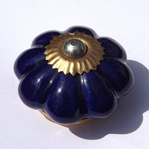 Peter Sharpe Bouton de meuble fleur en verre taillé pour tiroir ou placard Bleu