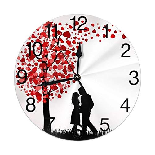 Reloj de Pared Redondo para Hombre, Mujer y árbol de Amor, silencioso, sin tictac, Funciona con Pilas, fácil de Leer para Estudiantes, Oficina, Escuela, hogar, Reloj Decorativo, Arte