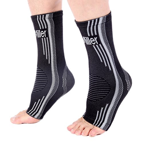 Doc Miller Premium Ankle Brace Compression Support Sleeve Socks for Swollen Foot Plantar Fasciitis Achilles Tendonitis, Use as Injury Support Recovery Eases Pain Swelling 1 Pair (Gray, Medium)