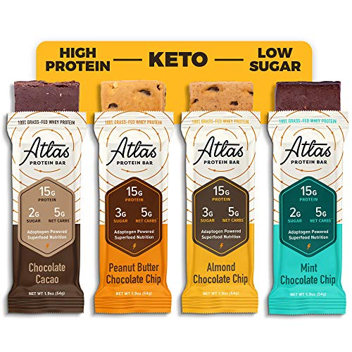 Atlas Bar - Keto Protein Bars, Chocolate Lover's - High Protein, Low Sugar, Low Carb, Grass Fed Whey, Healthy Protein, Gluten Free, Soy Free (12-Pack)