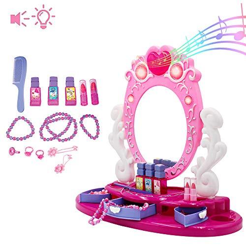 deAO Centro de Belleza Tocador con Espejo y Joyero Conjunto Incluye Accesorios y Maquillaje Artificial Funciones de Luz y Sonidos