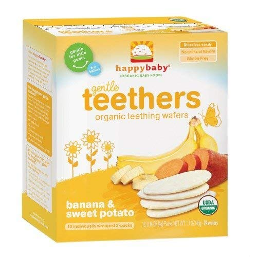 Happy Baby Gentle Teethers Organic Teething Wafers, Banana & Sweet Potato 12 ea (Pack of 1)