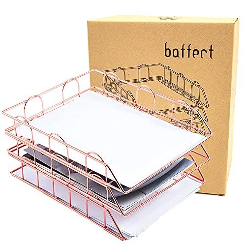 Baffect 3 Tier A4 Ablage Briefablage, stapelbare Briefablage Schreibtisch ordentlich Datei Dokument Brief Papier Organizer Metall A4 Ablage Home Office verwenden (Rose Gold)