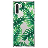 DistinctInk Clear Shockproof Hybrid Case for Samsung Galaxy Note 10 (6.3' Screen) - TPU Bumper, Acrylic Back, Tempered Glass Screen Protector - Tropical Banana Leaves