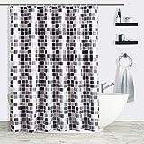VNICUD - Cortina de ducha estampada en Mosaico, tejido impermeable de poliéster con ganchos, antimoho y antibacteriano para cuarto de baño (180 x 200 cm, gris (mosaico)