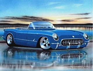1953 54 55 Chevy Corvette Hot Rod Car Art Print Blue 11x14 Poster
