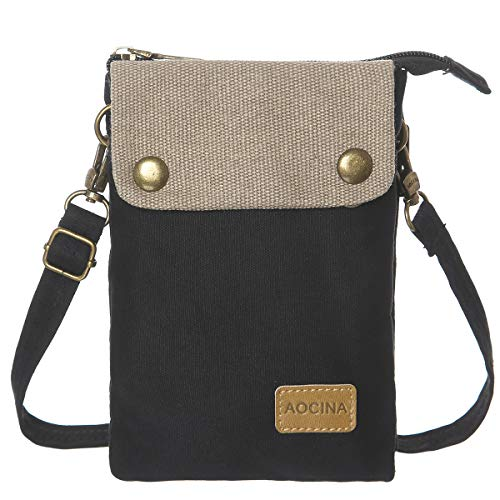 Small Canvas Cellphone Crossbody Purse Bag for Girls Teens Women with Adjustable Strap(A-Black)