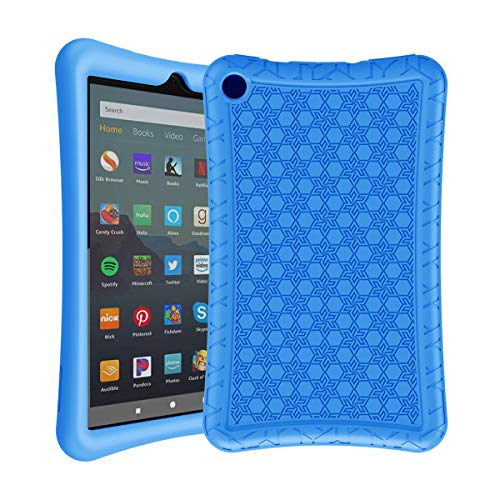 AVAWO Silicone Case for Amazon Fire 7 Tablet with Alexa (7th & 9th Generation, 2017 & 2019 Release - Anti Slip Shockproof Slim Light Weight Protective Cover, Blue