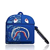 KNKAODG Compatible AirPod Pro Case, 3D Cute Cartoon Shark Bag Rugby Star Wars Spaceship Wali Robot Soft Silicone Protective Cover, Suitable for Airpod Pro Case. (Pro-New-Shark Bag/Blue)