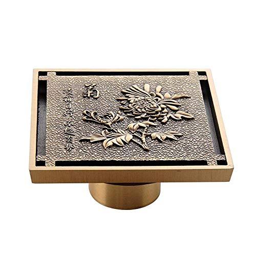 Cubierta de desagüe para el piso, 1 pieza de cobre y latón, drenaje de piso de 10 cm, diseño de flores talladas para inodoro invisible, anti olor, colador de drenaje 13