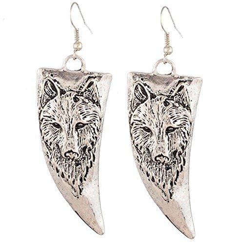 Yazilind Jahrgang-Silber überzogene Wolf Horn Tropfen baumeln Ohrringe für Frauen-Geschenk