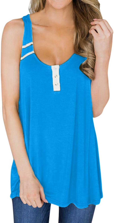IPOGP Women Patchwork Sexy Button Vest Top Sleeveless Casual Tank Blouse Summer Tops Shirt