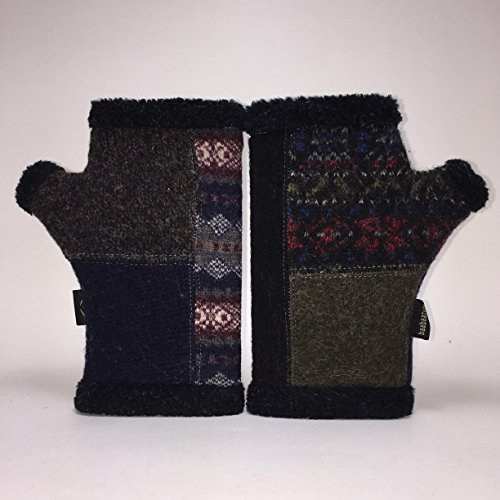 Baabaazuzu Black & Red Multi-Colored Patterned Women's Upcycled Wool Arctic Fingerless Gloves