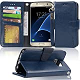 Arae Case Compatible for Samsung Galaxy s7, [Wrist Strap] Flip Folio [Kickstand Feature] PU Leather Wallet case with ID&Credit Card Pockets (Not for Galaxy S7 Edge) (Navy Blue)