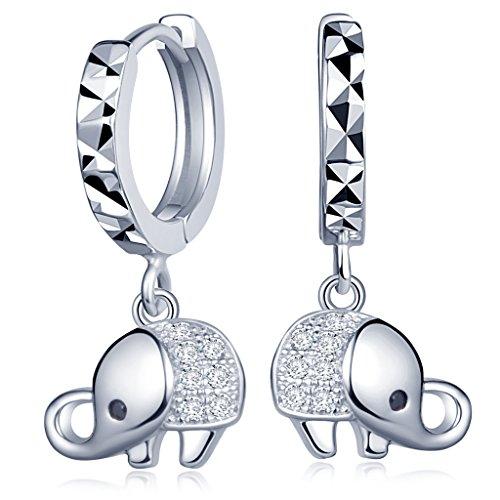 Infinite U Encantador Elefante 925plata de ley Circonita aro gotas cuelga los pendientes de aros para mujeres/niñas, Plata