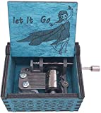 Plays Let It Go - Frozen Mini Wood Music Box 18 Note Hand Crank Musical Boxes Antique Engraved Small Birthday Halloween Christmas, Collections Home Office Decoration (Blue) …