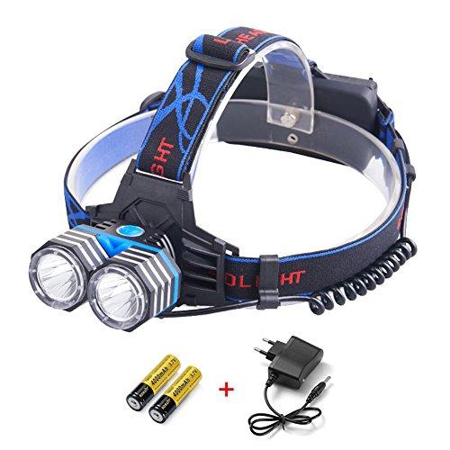 lokep 4000 lumens LED Lampe frontale rechargeable, Super Bright USB 18650 lampe torche avec 2 x CREE T6 LED, 3 modes phare avant étanche pour camping, randonnée, équitation, pêche, chasse, Sport en extérieur