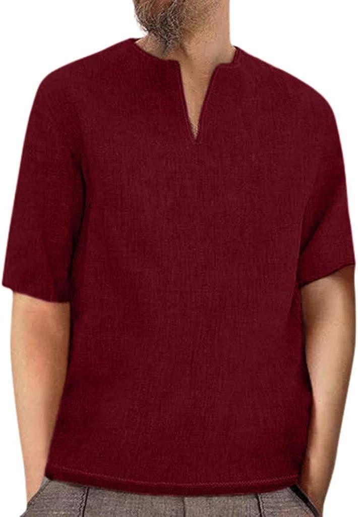MODOQO Men's Shirt-Summer Solid Color Baggy Cotton Linen Wrinkle-Free V Neck T Shirts