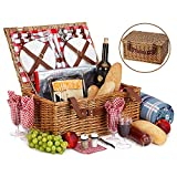 Picnic Basket Set For 4 With Insulated Cooler Bag- 30 Pc Kit Includes Wicker Basket with Handle and Lid, Wine Glasses, Stainless Steel Flatware, Ceramic Plates, Linen Napkins, Utensil Set and Blanket