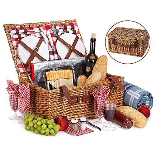 Amazon.com : Picnic Basket For 4 With Insulated Cooler Bag - 30 Piece Kit Includes Wicker Basket with Stainless Steel Flatware, Ceramic Plates, Glasses, Linen Napkins and Blanket and More - by Vysta : Garden & Outdoor
