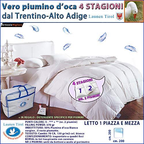 Piumone, Piumino Invernale 4 STAGIONI PIAZZA E MEZZA 200 X 200 In Vera Piuma D' Oca - LAUNEN TIROL - Dal Trentino Alto Adige Caldissimo!