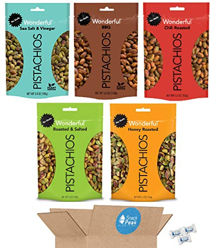 Wonderful Pistachios Snack Peak Variety Gift Box – Roasted Salted, BBQ, Chili Roasted, Salt and Vinegar, and Honey Roasted