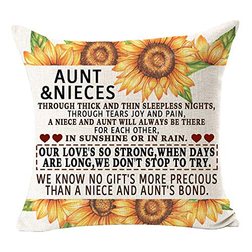 ITFRO Aunt Gift Quotes My Dear Aunt Thanks for Being My Aunt Cotton Burlap Decorative Square Throw Pillow Case Cushion Cover for Couch Living