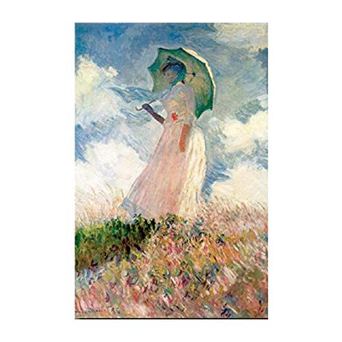 CHMIJ Monet Mujer con sombrilla Lienzo Pinturas de Pared Chica impresionista Cartel de Arte de Pared Imprime imágenes para decoración de Sala de Estar 40x60cm sin Marco