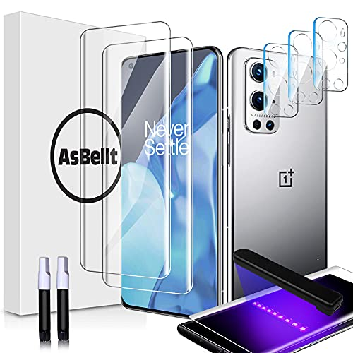 AsBellt Protector Pantalla OnePlus 9 Pro 5G (2*Protector de Pantalla de Cristal y 3*Protector de Cámara de Cristal) Protector de Pantalla Cristal Vidrio Templado para OnePlus 9 Pro 5G (6.7 Pulgadas)
