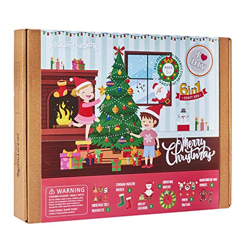 Christmas Themed Craft Kit | 6 Premium Quality Craft Projects in 1 Box | Can Make Tree Ornaments, Stocking, Wreath, Photo Bunting, Santa Wish List for 5 6 7 8 9 10 Year olds