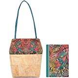 MENKAI-Bolso de Hombro o de Mano para Mujer con Dos Asas, Bolso de Corcho,Bolso de Hombro/Libreta de Notas tamaño A5, Conjunto de 2pc, diseño único,Estilo Floral