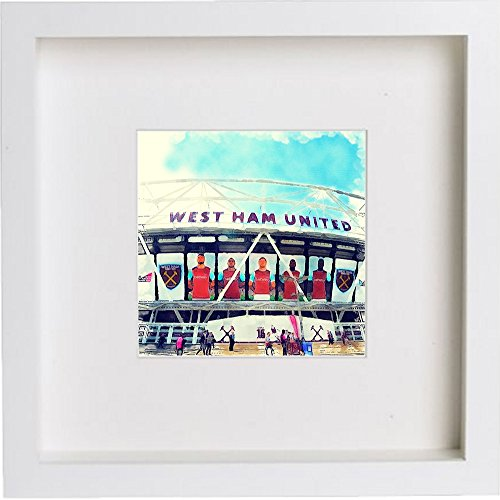 L Lumartos Wall Art Watercolor Print van West Ham United Football Club, London Stadium 208, Wit, One Size