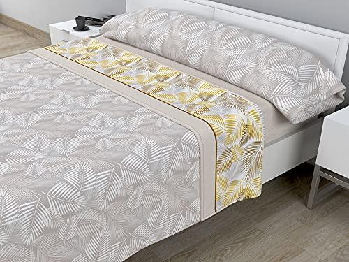 Juego de sábanas térmicas de Pirineo - 3 Piezas - 110 Gr/m2 - Mod. Hojas (Beige, Cama de 150 cm (150_x_190/200 cm))
