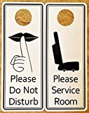 Please Service Room/Please Do Not Disturb Premium Quality PVC Door Hanger; Black Text on White Background; 3.25' Wide x 8' Tall (100)